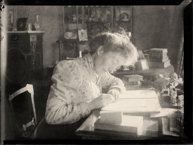 An Edwardian woman writing