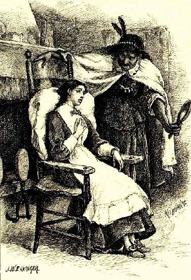 Tituba and Mary Walcott, illustration by John W. Ehninger